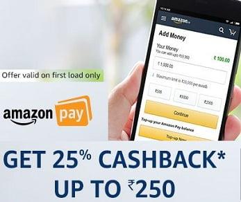 Add Minimum Rs. 300 Balance & Get 25% Cashback as Amazon Pay Balance (Max Cashback Rs.250) valid till 27th Aug'17