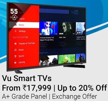 Great Offers on Vu SMART LED Television – Upto 22% off – Flipkart