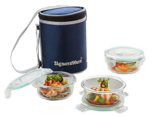 Signoraware Executive Glass Lunch Box Set with Bag 400ml 3-Pieces