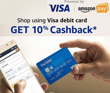 Get 10% Cashback on First Pre-paid Order using VISA Debit Card – Amazon