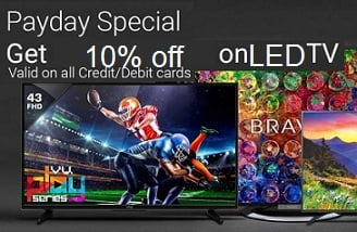 Flipkart Cashless Pay Day Special: LED TV upto 61% Off + Extra 10% Off with All Debit and Credit Card / Net Banking (Valid till 2nd Feb)