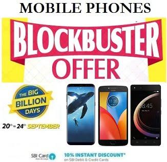 Flipkart Big Billion Days: Top / Blockbuster Offer on Mobile Phone – upto Rs.25000 off + Extra 10% off with SBI Cards