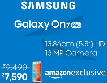 Samsung Galaxy On7 Pro for Rs.7590 @ Amazon + 10% Cashback with HDFC Card