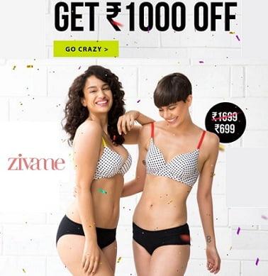 Women's Innerwear & Sleepwear – Flat Rs.1000 Off on Rs.1699 & above @ Zivame