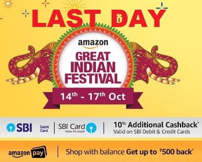 Amazon Great Indian Festival Sale: 40% off on Mobiles; 70% on Electronics, Fashions, Home & Kitchen + 10% Cashback with SBI Cards (14th Oct to 17th Oct'17)
