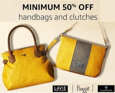 Women's Handbags & Clutches (Baggit, Lavie & more) – Minimum 50% Off @ Amazon