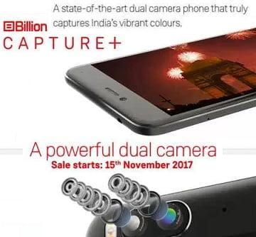 Billion Capture+ (32 GB, 3 GB RAM) with 13 MP Dual Rear Camera for Rs.10,999 – Flipkart
