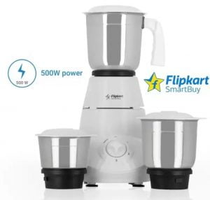 Flipkart SmartBuy Classico 500 W Mixer Grinder  (White, 3 Jars) for Rs.1299 – Flipkart