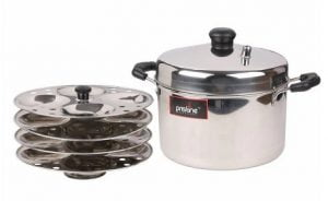 Silver Stainless Steel 4 Plate Induction Compatible Idli Cooker By Pristine worth Rs.1399 for Rs.543 – Pepperfry
