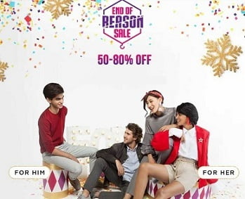 Myntra End of Reason Sale: 50% to 80% Off on Men's & Women's Fashion + Extra 10% Off with HDFC Debit / Credit Card