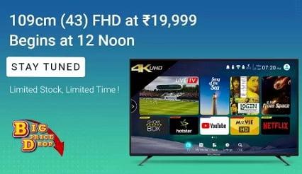 CloudWalker 109cm (43 inch) Full HD LED TV  (43AF) for Rs.19,999 – Flipkart