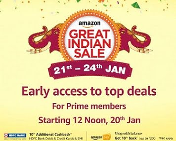 Amazon Great Indian Festival Sale (For Prime Members – Live at 12 PM 20th Jan)