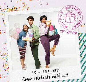Myntra Birthday Offer: Upto 80% off + Extra 5% to 10% Discount (Valid till 22nd Feb)