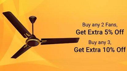 Fans – upto 48% off + Buy 2 Get Extra 5% & Buy 3 Get Extra 10% off @ Flipkart