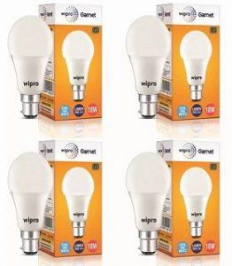 Wipro 10 W Arbitrary B22 LED Bulb (White, Pack of 4) for Rs.399 – Flipkart