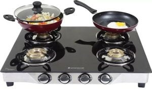 Wonderchef Ruby Glass, Stainless Steel Manual Gas Stove (4 Burners) for Rs.2999 – Flipkart