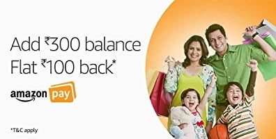 Add Minimum Rs. 300 Balance & Get Rs.100 back as Amazon Pay Balance valid till 21st March'18