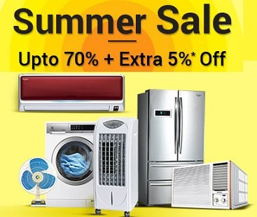 Summer Sale on Large & Small Appliances – upto 70% + Extra 5% off @ Moglix