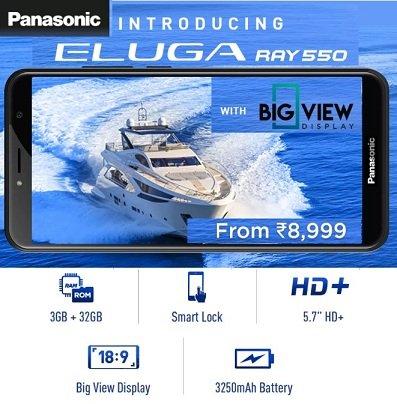 Panasonic Eluga Ray 550 (3 GB, 32 GB) with 5.7″ HD+ Display for Rs.5,990 – Flipkart