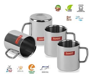 303033f0233 How to buy Sumeet Stainless Steel Double Wall Tea and Coffee Medium Mug set  of 4Pcs (210 Ml Each):