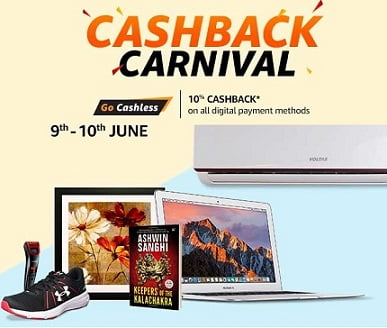 Amazon Cashback Offer: Shop for Min Rs.2000 & Get 10% Cashback (Max Cashback Rs.800) Valid till 10th June