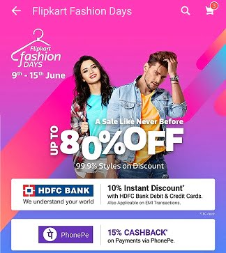 Flipkart Fashion: Upto 80% off on Clothing, Footwear & Accessories + Extra 10% off with HDFC Cards +15% Cashback with PhonePe