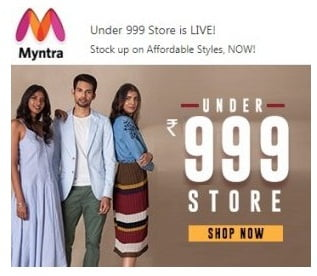 Myntra – Clothing, Footwear & Accessories under Rs.999 (Limited Period Offer)