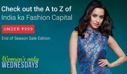 Women's Wednesday Deal: Clothing, Footwear & Accessories under Rs.999 @ Flipkart