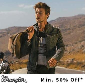 Flat 50% – 70% off on Wrangler Men's / Women's Clothing @ Ajio