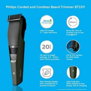 Philips DuraPower Beard Trimmer BT3211/15 - Corded & Cordless