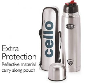 Cello Flip Style Stainless Steel Flask, 1 Litre, Silver worth Rs.906 for Rs.580 – Amazon