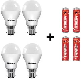 Eveready 10 W Round B22 LED Bulb  (White, Pack of 4) with Free Batteries for Rs.309