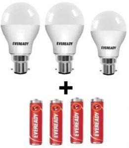 Loot Offer: Eveready 15W + 15W + 10W Led Bulb + 4 Batteries for Rs. 360 @ Flipkart