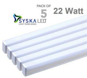 Steal Deal: Syska T5 Cool Day Light 22-Watt LED Tube Lights – Set of 5 for Rs.1684 (Rs.336 each) @ Pepperfry