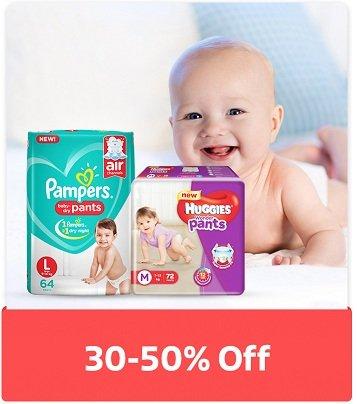 Baby Diapers (Mamy Poko, Pampers, Huggies)  – 30% – 50% Off @ Flipkart