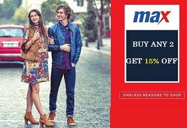 Max Clothing for Men's / Women's / Boy's / Girls: Buy 2 Get 15% off @ Max