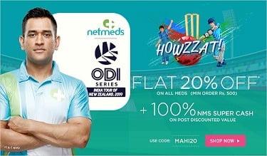 Netmeds: Get Flat 20% instant Discount on Medicines + 100% EXTRA CASHBACK