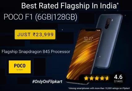 POCO F1 (Graphite Black, 128 GB)  (6 GB RAM) for Rs.23,999 @ Flipkart