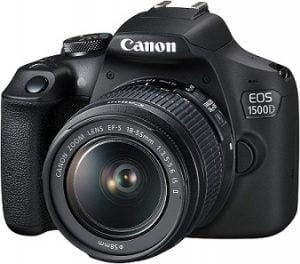 Canon EOS 1500D Digital SLR Camera (Black) with EF S18-55 is II Lens/Camera Case for Rs.17990 – Amazon