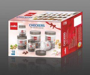 Cello Checkers Plastic PET Canister Set, 18 Pieces