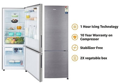Haier 320 L 3 Star Frost Free Double Door Refrigerator(HRB-3404BS-R/HRB-3404BS-E, Brushline silver, Bottom Freezer) for Rs.23,499 – Amazon