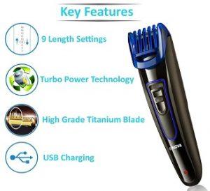 Nova NHT-1071 Titanium Coated USB Trimmer for Men for Rs.615 – Amazon