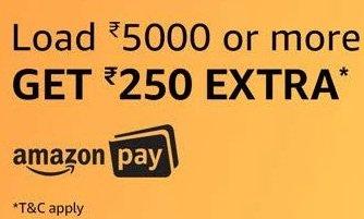 Add Minimum Rs. 5000 Balance & Get Rs.250 back as Amazon Pay Balance (valid till 23rd Oct'18)