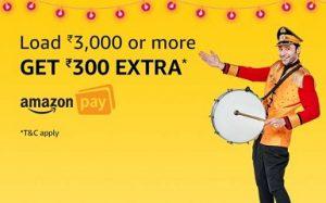 Add Minimum Rs. 3000 Balance & Get Rs.300 back as Amazon Pay Balance (valid till 8th Oct'18)