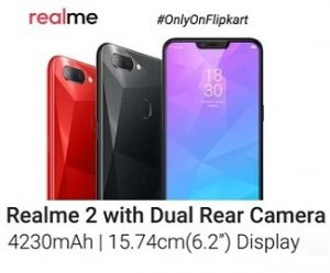 Realme 2 Dual Rear Camera Phone for Rs.9,499 (3 GB, 32 GB)   Rs.10,990 (4 GB, 64 GB) @ Flipkart