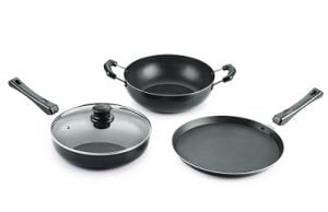 Nirlon Non-Stick Aluminium Cookware Set, 4-Pieces, Black for Rs.979 – Amazon