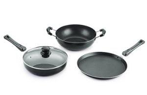 Nirlon Non-Stick Aluminium Cookware Set 4-Pieces