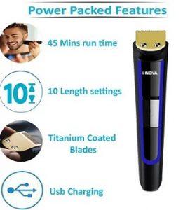 Nova NHT 1078 Titanium Coated USB Cordless Trimmer for Men for Rs.549 – Flipkart