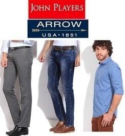 Minimum 50% Discount on Arrow, John Player, Wrangler, LEE, UCB & more Mens Clothing