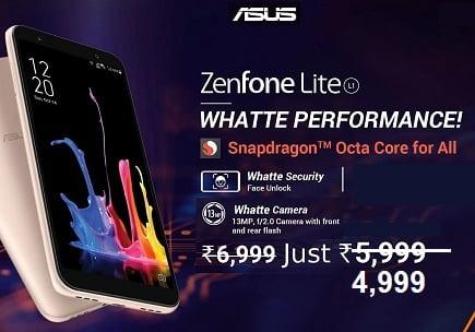 Asus ZenFone Lite L1 (2 GB RAM, 16 GB ROM) for Rs.4,999 – Flipkart